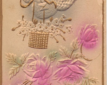 Embossed Vintage Birthday Greetings Postcard with Dove & Flowers