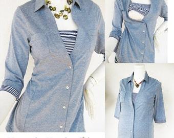 ANNA Shirt /  Maternity Clothes / Nursing Tops / Breastfeeding Shirt / NEW Chambray BLUE / Nursing Clothing for Breastfeeding