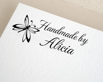 Handmade by Personalized Custom Name Butterfly Created By Gift Card Handle Mounted Rubber Stamp Or Pre-inked Stamp Self inking Stamp RE557