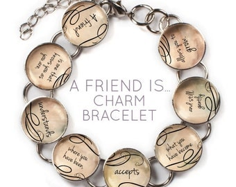 "A Friend Is - Glass Charm Bracelet with Dangling Heart Charm, 6.75""-8.75"""