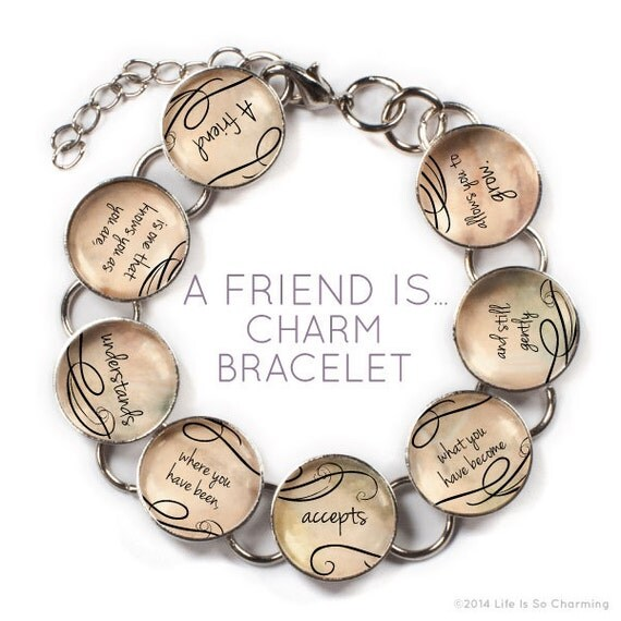 a friend is glass charm bracelet with dangling charm
