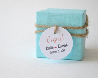 """Mini Enjoy 1.5"""" Round Small Label Tags - Custom Wedding Favor & Gift Tags - Choice of Colors"""
