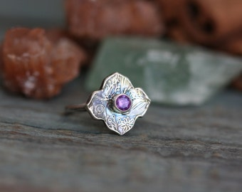 SUMMER SALE 40% OFF Size 8 Moroccan Twilight hand stamped fine silver and amethyst gem stone ring