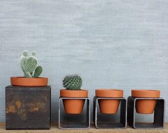 """Square 3"""" x3"""" Modern Block Planter - Modern Steel Metal Planter w/ Pot - Indoor Outdoor Succulent Garden"""