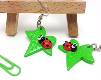 Leaf Earrings, Fun Earrings, Handmade Earrings, Leaf Jewelry, Girls Gift, Cute Gift, Kawaii Jewelry, Kawaii Earrings, Clay Jewelry