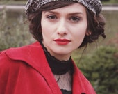 woman's beret - valentin gift - french beret - tam hat - hand knit woman hat - black white hat
