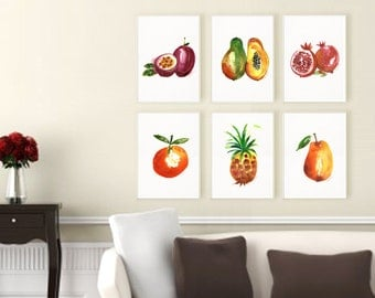 Fruit watercolor painting, Set of 6, Kitchen art, Tropical fruit print, Summer decor, Fruit prints, Orchard, Papaya, Pineapple, Clementine
