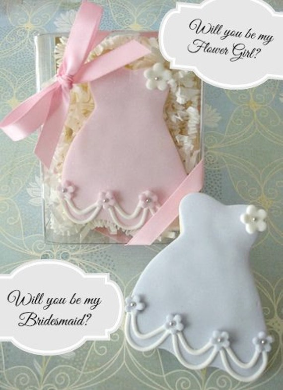 "1 Boxed "" Will you be my Flower Girl "" Cookie favor Gift"