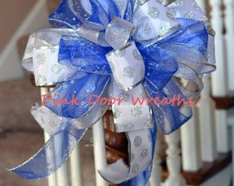 "13"" CHRISTMAS TREE TOPPER bow decor blue white silver sparkle staircase winter attachment (others available)"