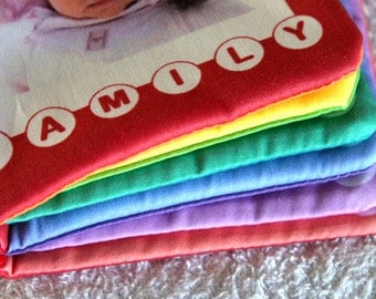 Custom rainbow cloth baby family photo book with organic cotton option