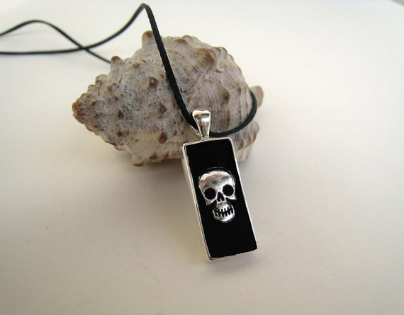 Gothic necklace, skull charm, black resin pendant, mens jewelry, unisex jewelry, biker jewelry, goth punk rock jewelry, spooky teenager gift
