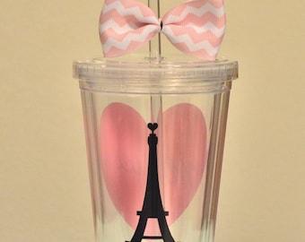 Paris Acrylic Tumbler. Paris love 16 ounce cups. Pink Heart. France. Valentine