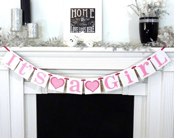 Its A Girl Banner / Baby Shower Decoration / Baby Announcements / Gender Reveal Banner /Rustic /Onesie /New Baby / Baby Pink