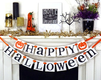 "Halloween Banner ""Happy Halloween"" Decoration- Trick Or Treat Garland- Party Photo Props - Fall Decorations Sign-Party Decor"