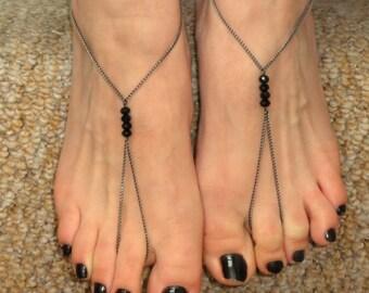 Gunmetal black swarovski crystal barefoot sandals, Slave bracelet ring foot, foot bracelet, Black crystal ankle slave, Barefoot sandals
