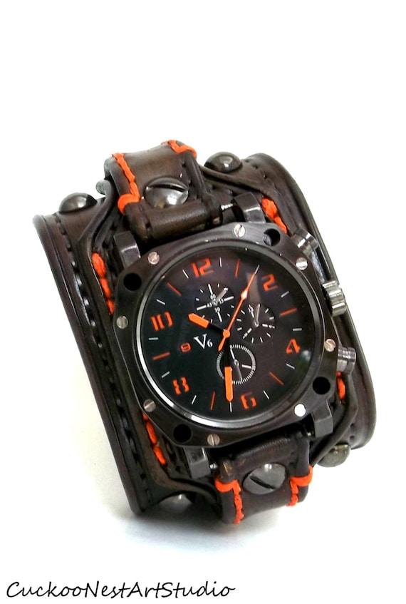 Men's watch Leather Wrist Watch Leather Cuff Bracelet