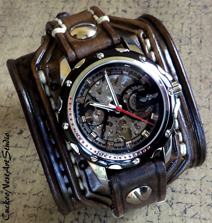 Steampunk Leather Wrist Watch Skeleton Men's watch
