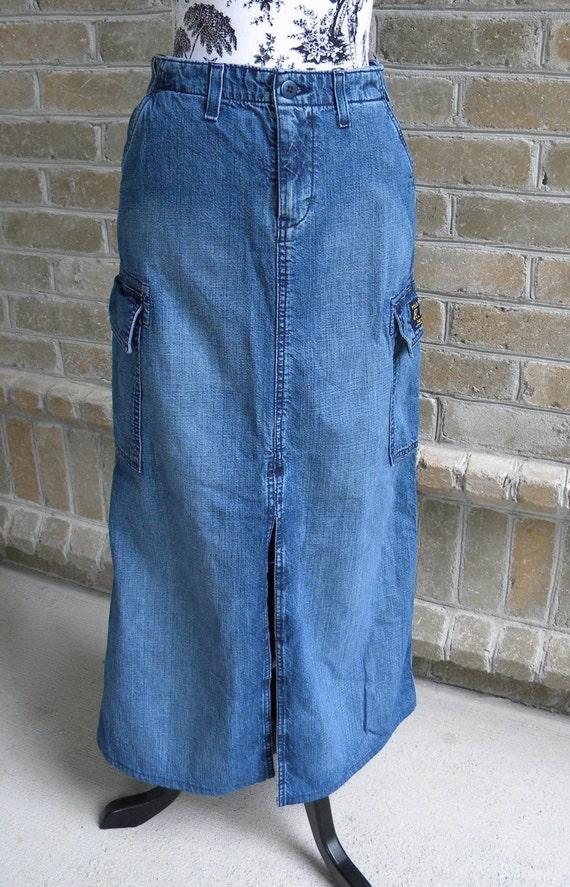 ralph vintage denim cargo maxi skirt size small