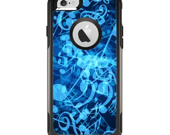 The Glowing Blue Music Notes Apple iPhone 6 Otterbox Commuter Case Skin Set