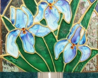 Decorative Night Lights, Blue Iris Flower Night Light Art Unique Stained Glass Night Light Blue Bathroom Night Light Plug Flower Nightlight