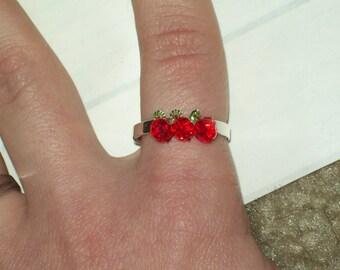 Applejack or Teacher Ring - Sterling Silver and Swarovski Beads