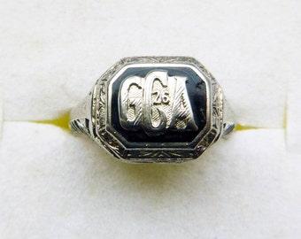 Art Deco filigree 10k white gold ring onyx monogram and 1926 date size 5