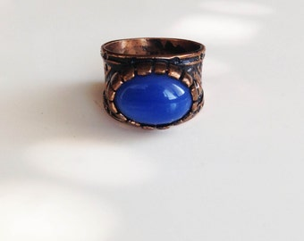 Vintage Look Brass Ring with Blue Agate