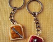 BFF Peanut Butter & Strawberry Jelly Jam Best Friend BFF Keychain Polymer Clay, Miniature Clay Dessert Food Jewelry