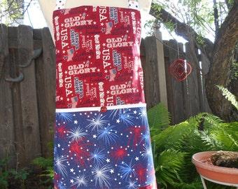 Men's Patriotic Apron, Red White Blue USA Reversible Large Pocket, The Mike