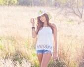 LIGHT OLIVE FLORAL womens floppy sun hat // damask beach hat