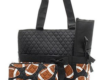 3 Piece Personalized Football Diaper Bag with Changing Pad And Cosmetic Case