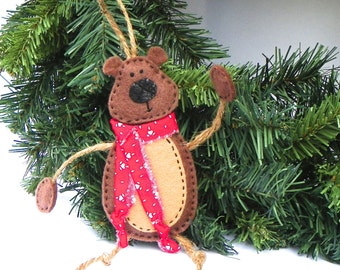 Bear Ornament, Teddy Bear Christmas Ornament- Mr. Bear