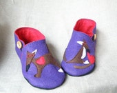 wool felt children slippers/ girl brown fox shoes/ kids felt slippers