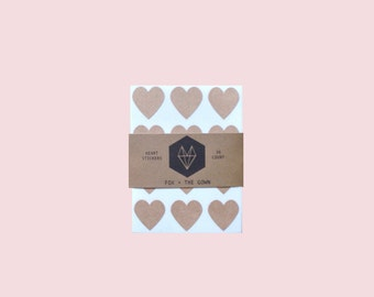36 Brown Kraft Heart Stickers