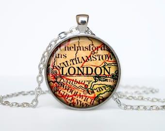 London map pendant, London map necklace, London map jewelry, London