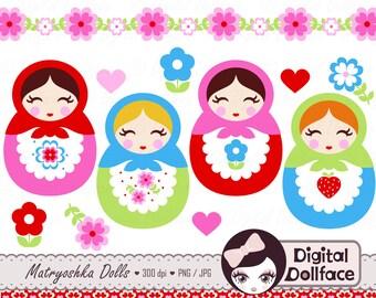 Cute Matryoshka Clip Art, Babushka, Russian Doll Clipart, w/ border