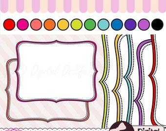 Colorful Frame Digital Clipart, Printable Bracket Clip Art Label