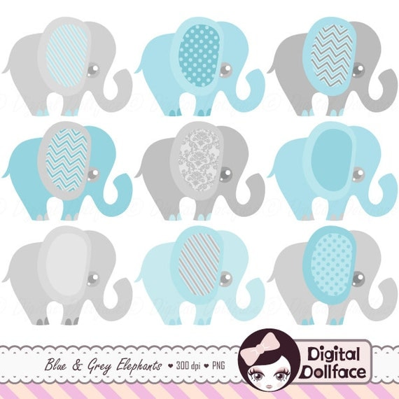 Blue Elephant Baby Shower Invitation Clipart Baby Boy Clip