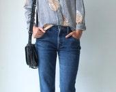 Small Women's 70's Striped Button Down Blouse