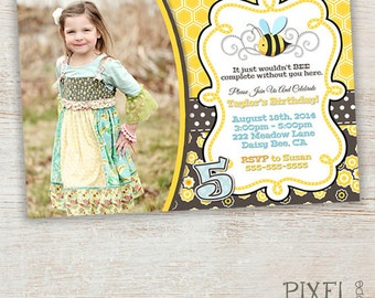 Bumble Bee Invitation, Bumble Bee Birthday Invitation, Bumble Bee, Bumble Bee Birthday Party, Bumble Bee Photo Card, Bees, Flowers