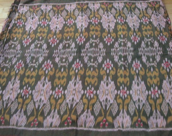 Hand woven cotton olive green, yellow  ikat fabric by the yard