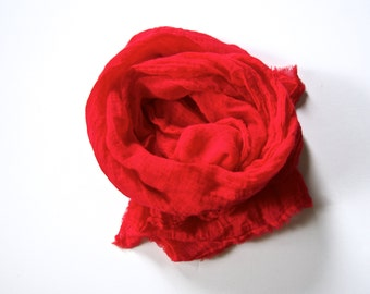 Red Scarf, Red Cotton Scarf, Lipstick Cotton Gauze Scarf, Mens Red Scarf, Spring Summer Lightweight Scarf, Extra Long Large Red Scarf