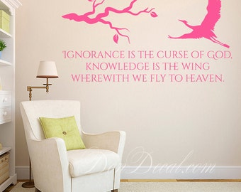 Bedroom Wall Art Sticker Vinyl Decor - Living Room Wall Art Quote Decal - Ignorance is the curse of God...