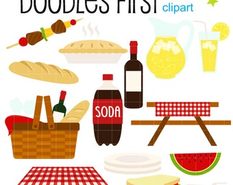 Summer Picnic Digital Clip Art for Scrapbooking Card Making Cupcake Toppers Paper Crafts