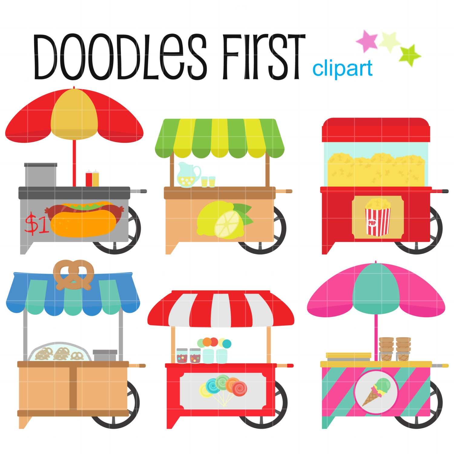 Food Carts Digital Clip Art for Scrapbooking Card Making