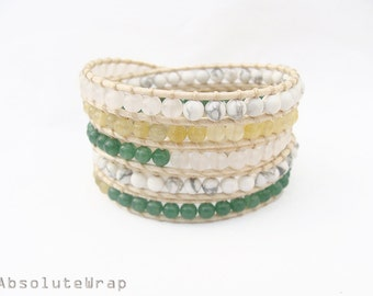 Green white stone wrap bracelet on polyester cord, howlite, light yellow
