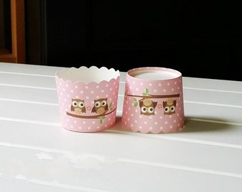 CLEARANCE SALE! It's A Girl Owl Baby Shower Pink Baking Cups Muffin Cups Treat Cups (20)