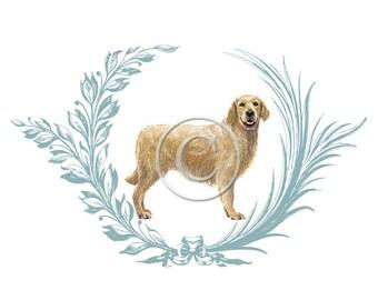 Printable Golden Retriever Download, Dog Digital, ACEO, Digital Collage, Digital French Gift Tags,Transfer Images,Vintage Digital Collage