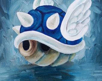 Blue Shell - Art Print of Original Acrylic Painting - Mario Kart 8 Art