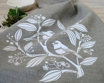 Linen Tea Towel Hand Printed Linen Tea Towel White and Natural Australian Bird
